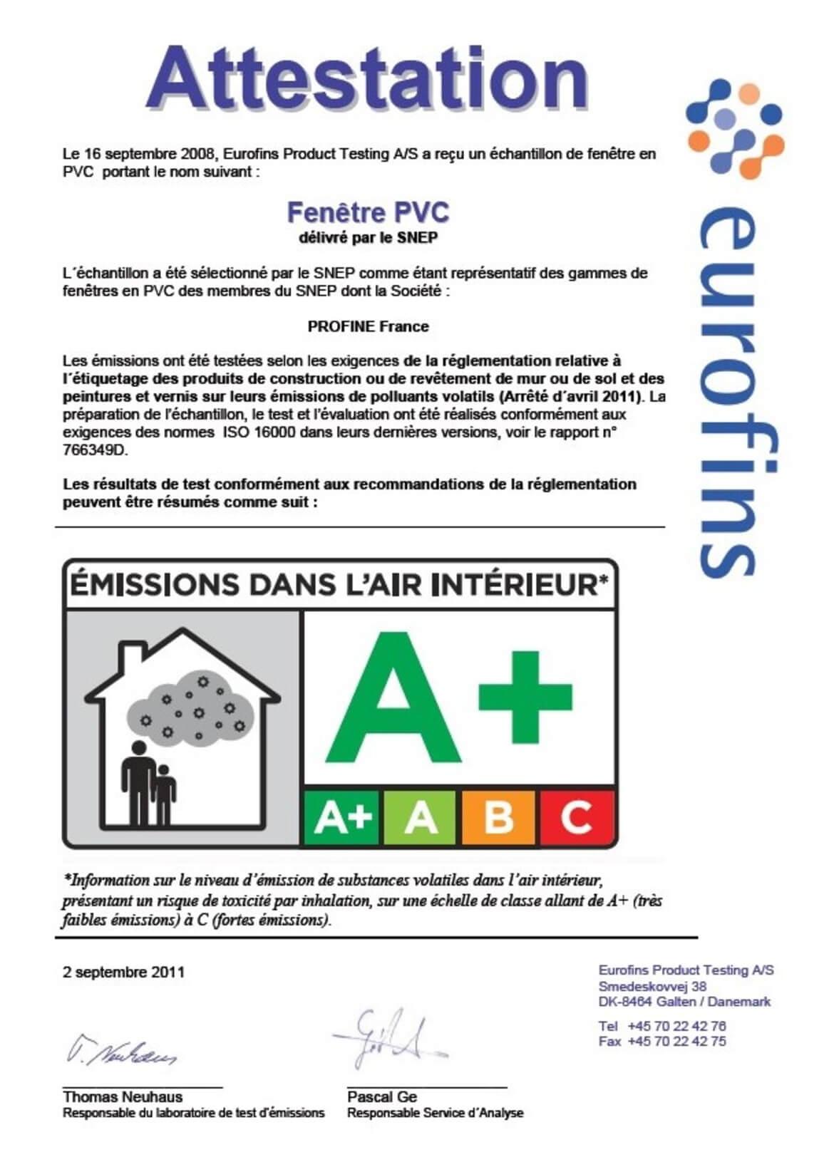 Certificado A+ PVC bajas emisiones